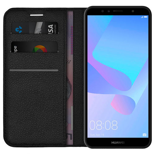 Leather Wallet Case & Card Holder Stand for Huawei Y6 (2018) - Black